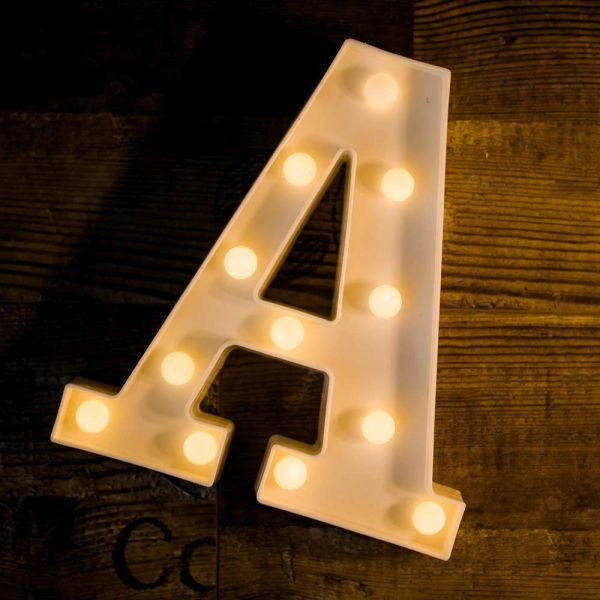 Quace Battery Powered LED Marquee Letter Lights, Warm White, A Shape