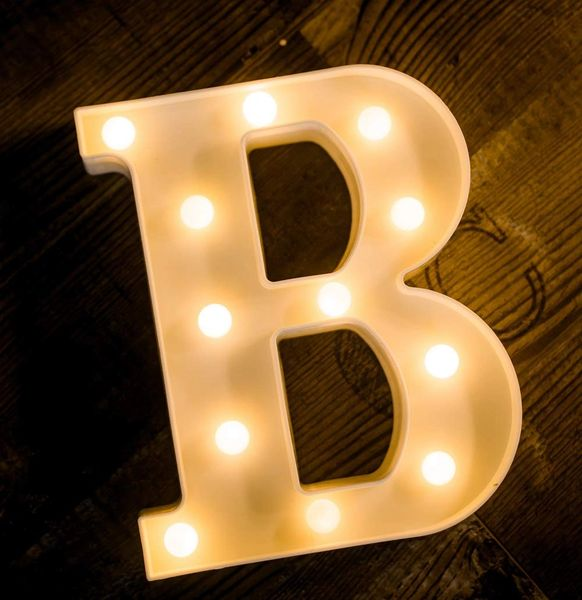 Quace Battery Powered LED Marquee Letter Lights, Warm White, B Shape