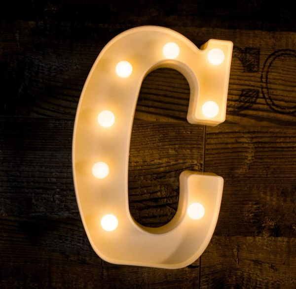 Quace Battery Powered LED Marquee Letter Lights, Warm White, C Shape
