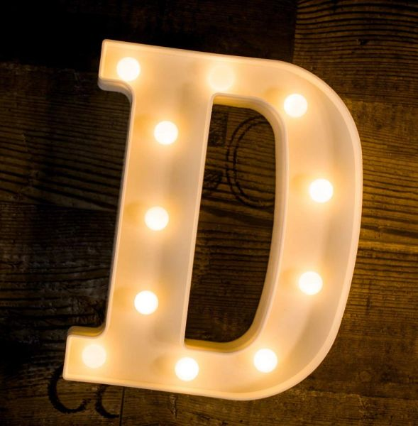 Quace Battery Powered LED Marquee Letter Lights, Warm White, D Shape