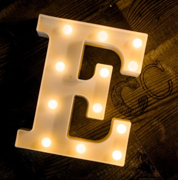Quace Battery Powered LED Marquee Letter Lights, Warm White, E Shape