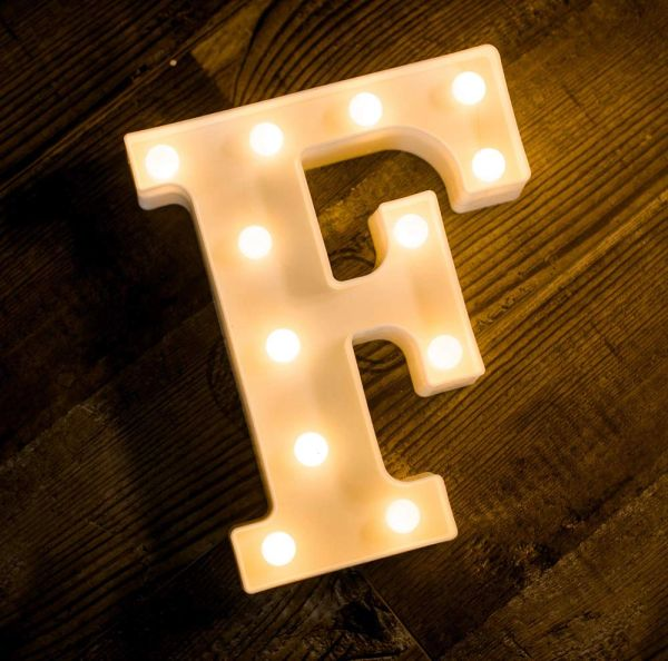 Quace Battery Powered LED Marquee Letter Lights, Warm White, F Shape