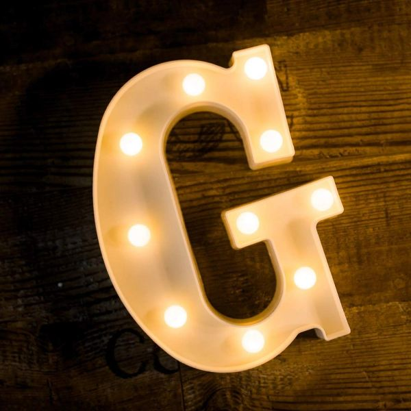 Quace Battery Powered LED Marquee Letter Lights, Warm White, G Shape