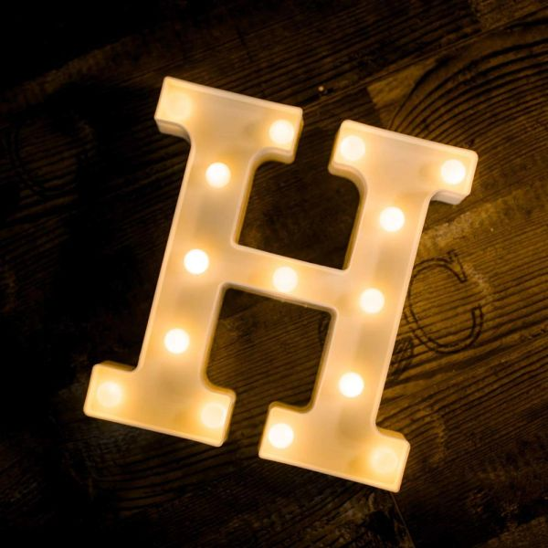 Quace Battery Powered LED Marquee Letter Lights, Warm White, H Shape