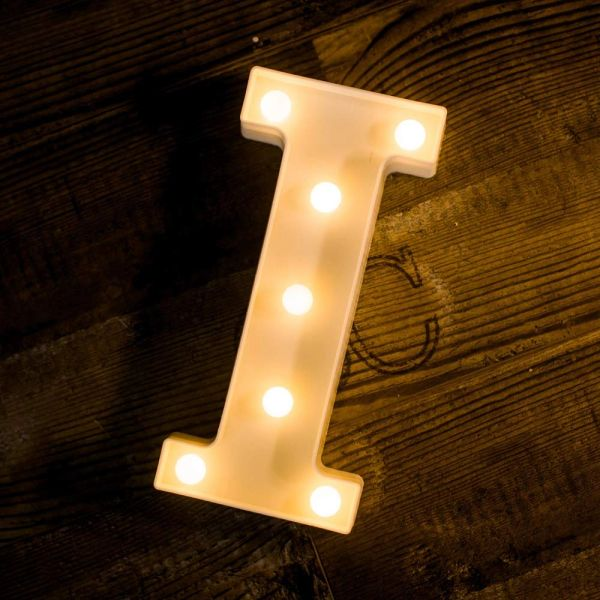 Quace Battery Powered LED Marquee Letter Lights, Warm White, I Shape