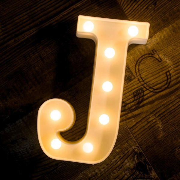Quace Battery Powered LED Marquee Letter Lights, Warm White, J Shape