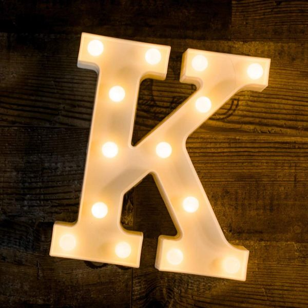 Quace Battery Powered LED Marquee Letter Lights, Warm White, K Shape