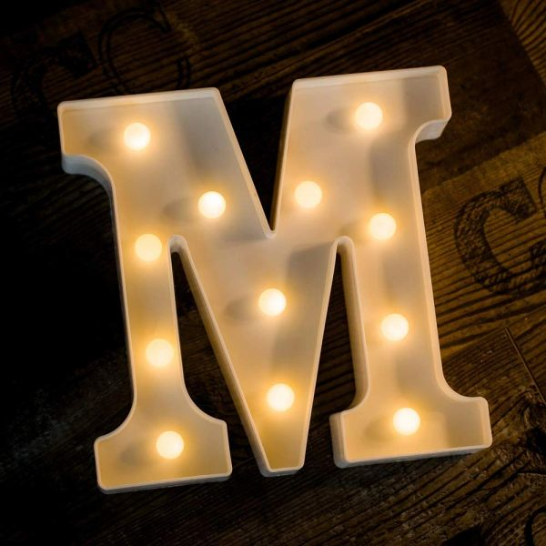 Quace Battery Powered LED Marquee Letter Lights, Warm White, M Shape