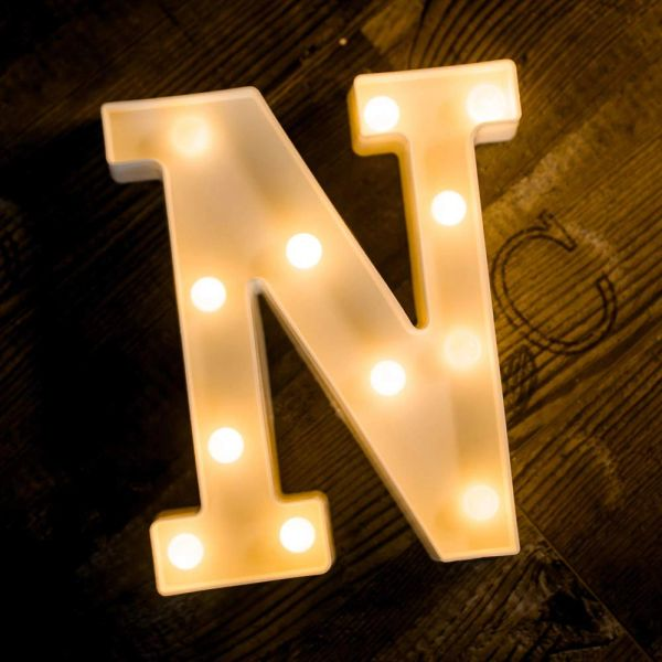 Quace Battery Powered LED Marquee Letter Lights, Warm White, N Shape