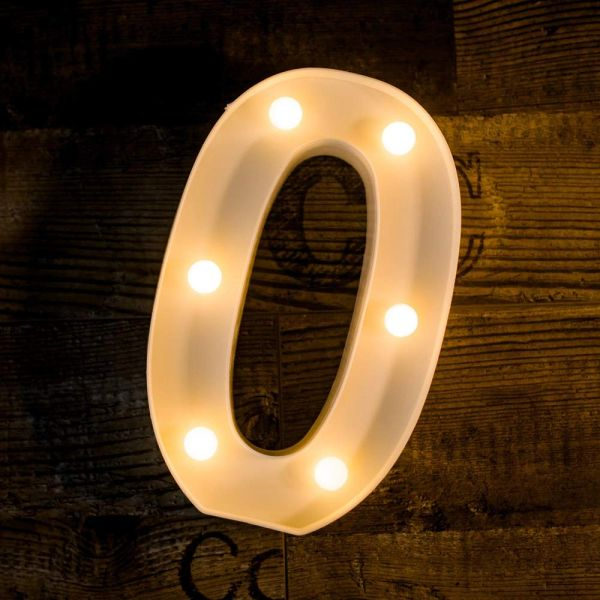 Quace Battery Powered LED Marquee Letter Lights, Warm White, O Shape