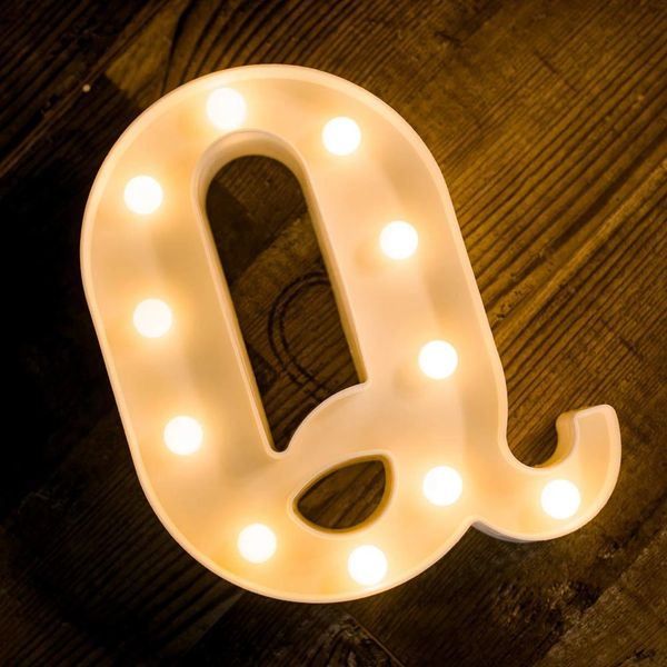 Quace Battery Powered LED Marquee Letter Lights, Warm White, Q Shape