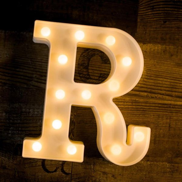 Quace Battery Powered LED Marquee Letter Lights, Warm White, R Shape
