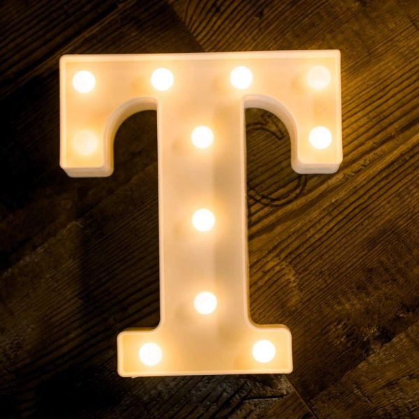 Quace Battery Powered LED Marquee Letter Lights, Warm White, T Shape