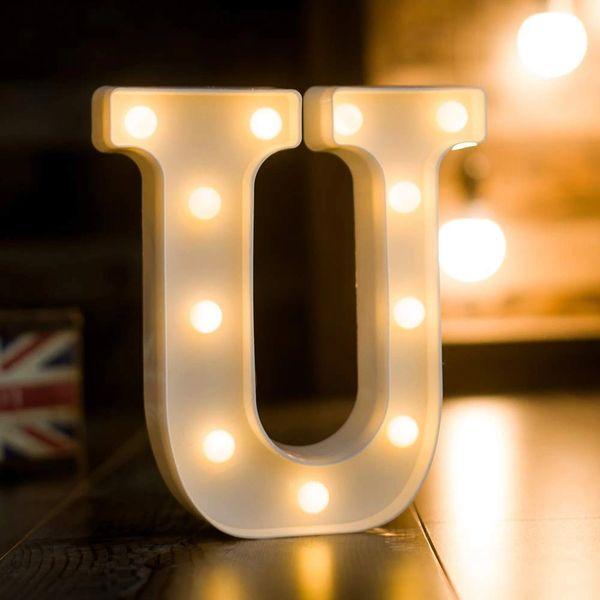 Quace Battery Powered LED Marquee Letter Lights, Warm White, U Shape
