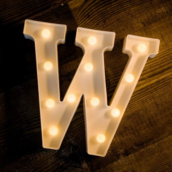 Quace Battery Powered LED Marquee Letter Lights, Warm White, W Shape