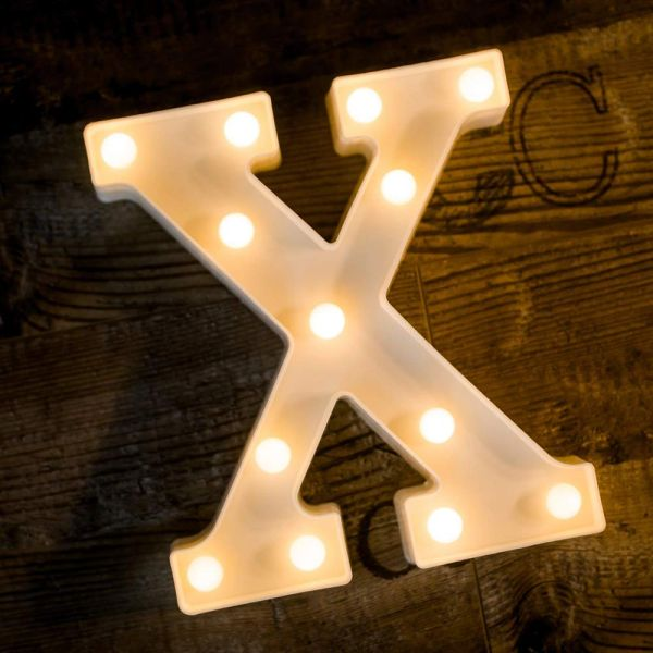Quace Battery Powered LED Marquee Letter Lights, Warm White, X Shape