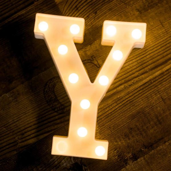 Quace Battery Powered LED Marquee Letter Lights, Warm White, Y Shape