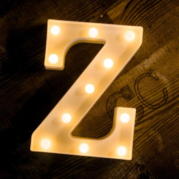 Quace Battery Powered LED Marquee Letter Lights, Warm White, Z Shape