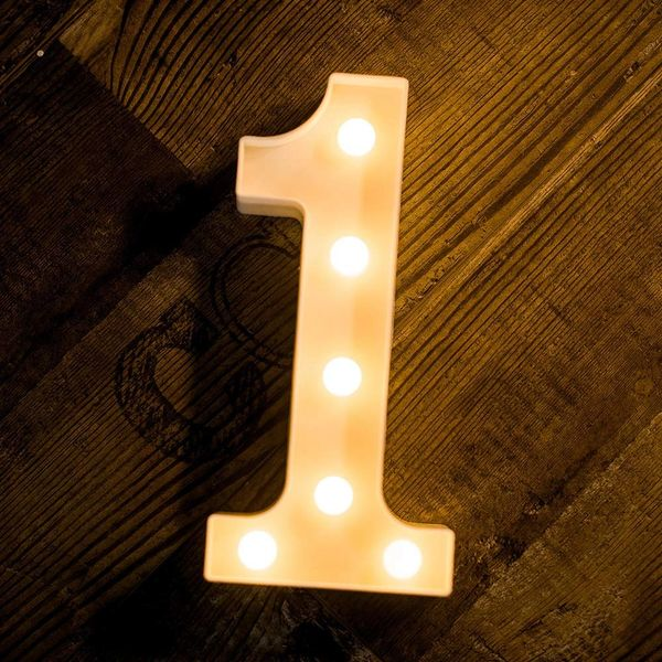 Quace Battery Powered LED Marquee Number Lights, Warm White