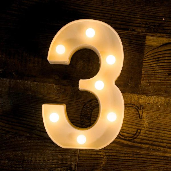Quace Battery Powered Led Marquee Number Lights Sign Light Up Marquee Number Lights Sign for Night Light Wedding Birthday Party Battery Powered Christmas Lamp Home Bar Decoration (3)