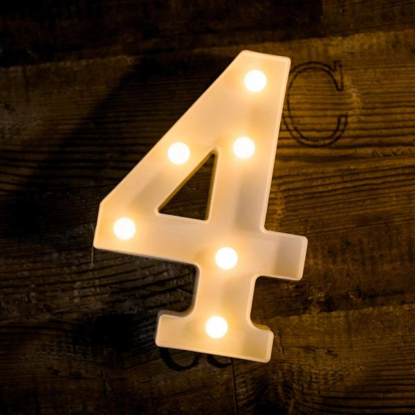 Quace Battery Powered Led Marquee Number Lights Sign Light Up Marquee Number Lights Sign for Night Light Wedding Birthday Party Battery Powered Christmas Lamp Home Bar Decoration (4)