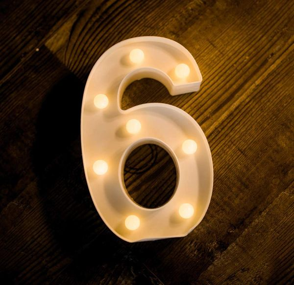 Quace Battery Powered Led Marquee Number Lights Sign Light Up Marquee Number Lights Sign for Night Light Wedding Birthday Party Battery Powered Christmas Lamp Home Bar Decoration (6)
