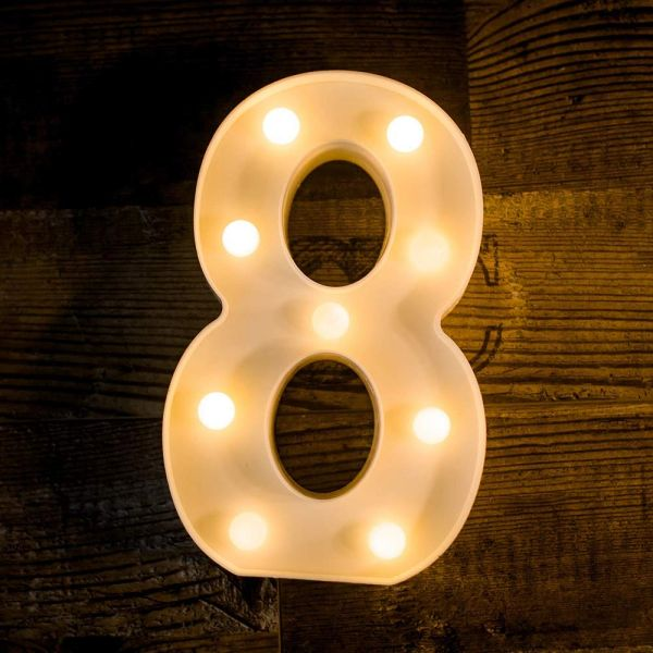 Quace Battery Powered Led Marquee Number Lights Sign Light Up Marquee Number Lights Sign for Night Light Wedding Birthday Party Battery Powered Christmas Lamp Home Bar Decoration (8)