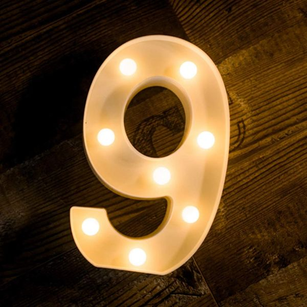 Quace Battery Powered Led Marquee Number Lights Sign Light Up Marquee Number Lights Sign for Night Light Wedding Birthday Party Battery Powered Christmas Lamp Home Bar Decoration (9)