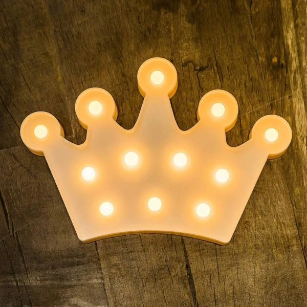 Quace Battery Powered Led Marquee Lights Crown Shaped LED Plastic Light Up Sign for Night Light Wedding Birthday Party Battery Powered Christmas Lamp Home Bar Decoration