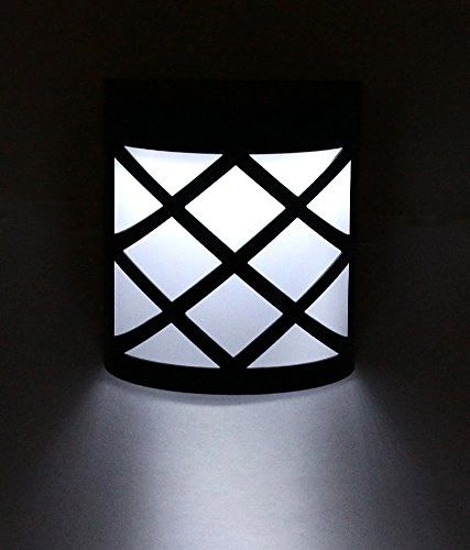 Quace Solar Powered Wall Mount Curved Box LED Lights Lamp Outdoor Garden Yard Fence White Light