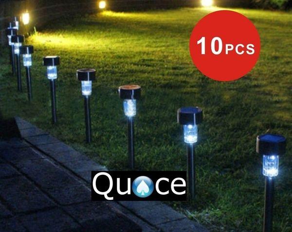 Quace Solar LED Black Body Light for Garden Rod Set of 10