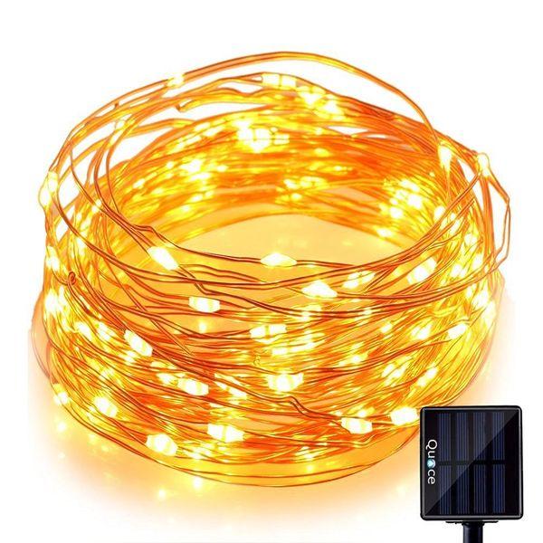 Quace Solar Light 60 Pc Yellow LED Festival Copper String Light Diwali Home Decoration