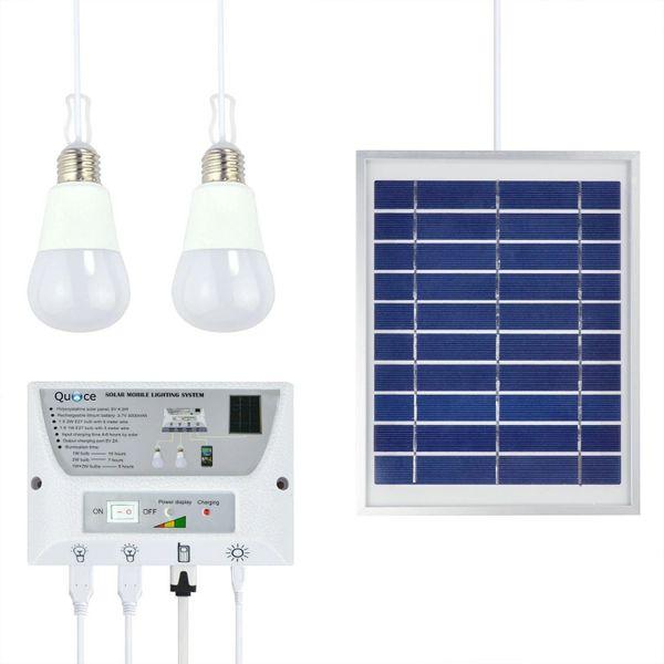 Quace Portable Solar Mobile Lighting System LED Lights Power Bank for Home Office