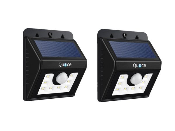 Set of 2 Quace 8 LED Bright Solar Lights Outdoor Garden Motion Activated Solar Power Light Set of 2