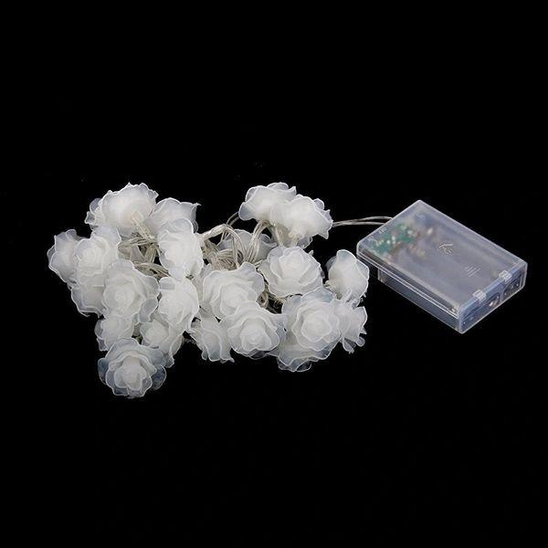 Quace 20 Pcs Rose Flower Shaped String Light Battery Powered Diwali Christmas Wedding Festival Decoration Light