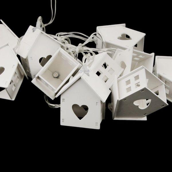 Quace 10 Pcs Wood House Shaped String Light Battery Powered Diwali Christmas Wedding Festival Decoration Light