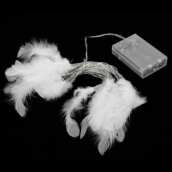 Quace 20 Pcs Feather String Light Battery Powered Diwali Christmas Wedding Festival Decoration Light