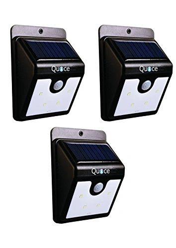 Set of 3 Upgraded Quace 4 LED PIR Motion Sensor Stick On Solar LED Light - Never Turns Off Dim + PIR Bright Mode