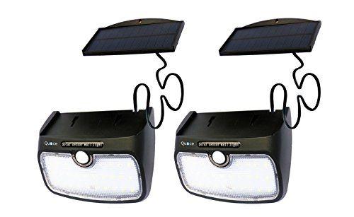 Set of 2 Quace 28 LED 700 Lm Brightness 4000 MAH Battery High Back Up Weather Resistant Solar Motion Sensor Light with Detachable Separate Panel
