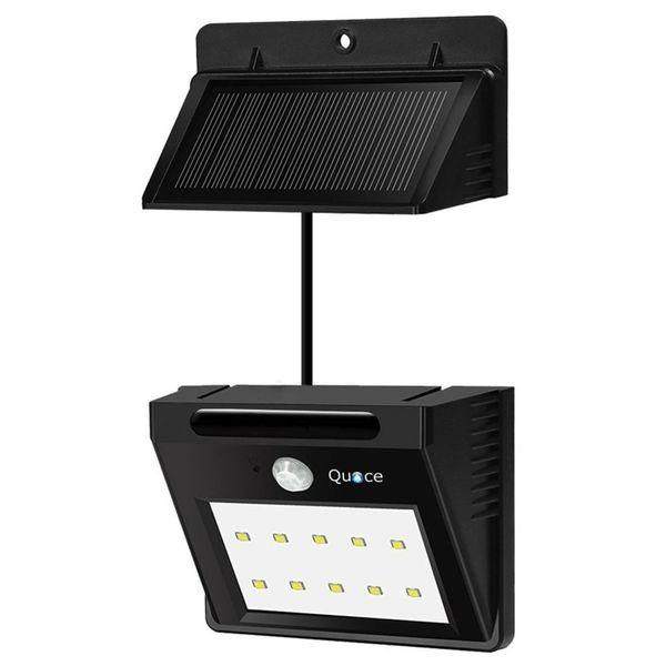 Quace 10 LED Weather Resistant Solar Motion Sensor Light with Detachable Separate Panel