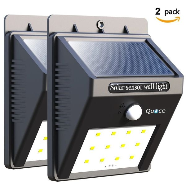 Set of 2 Quace Weather Resistant 12 LED Motion Sensor Solar Light - Special Promotion Price