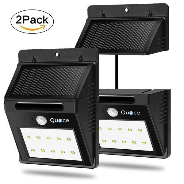 Set of 2 Quace 10 LED Weather Resistant Solar Motion Sensor Light with Detachable Separate Panel