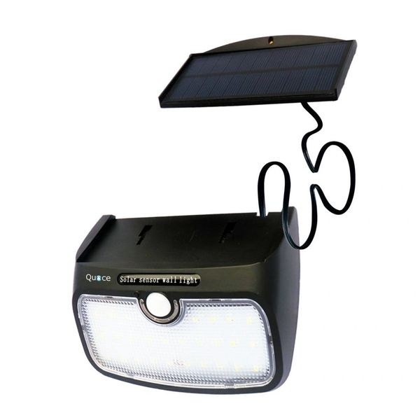 Quace 28 LED 700 Lm Brightness 4000 MAH Battery High Back Up Weather Resistant Solar Motion Sensor Light with Detachable Separate Panel