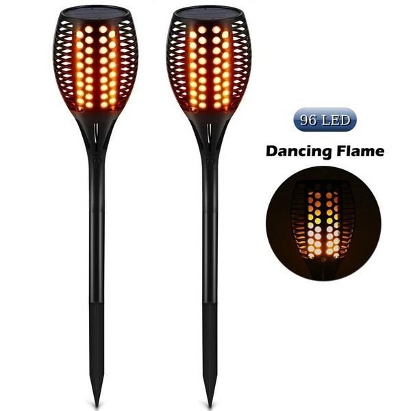 Quace Solar Path Mashaal Torches/Dancing Flame/96 LED Outdoor Waterproof Pool Lights- Set of 2