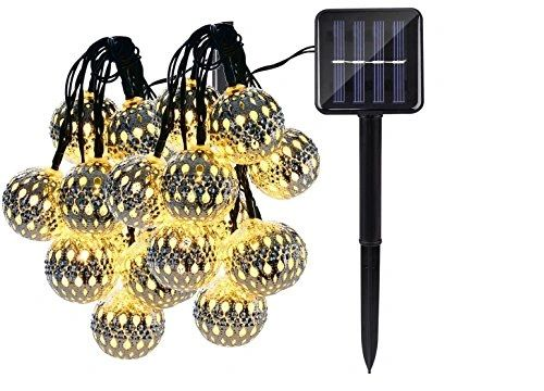 Quace Metal Ball Solar String Lights 6m/20ft 30 LED Water-Resistant Lights Festival Decoration String Lights for Indoor Outdoor Bedroom Patio Lawn Garden Wedding Party Decorations - Warm White