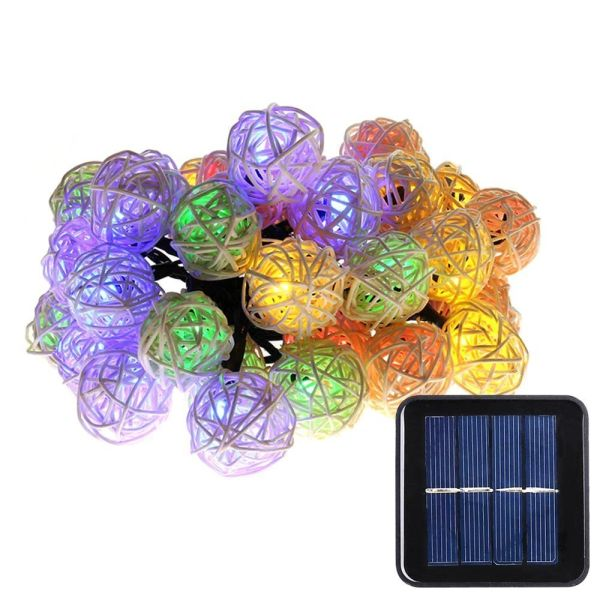 Quace Rattan balls Solar String Lights 6m/20ft 30 LED Water-Resistant Lights Festival Decoration String Lights for Indoor Outdoor Bedroom Patio Lawn Garden Wedding Party Decorations - Warm White