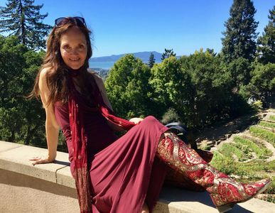 Walk in Beauty Tapestry Boot Designer Colette de Gagnier wearing one of her creations in California