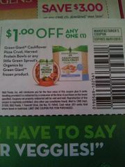 10 Coupons $1/1 Green Giant Cauliflower Pizza Crust, Harvest Protein Bowls Or Any Little Green Sprout's Organics By Green Giant Frozen Product Exp.6/1/19