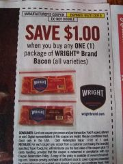 10 Coupons $1/1 Wright Brand Bacon Exp.5/31/19