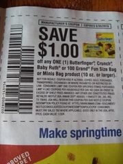 10 Coupons $1/1 Butterfinger, Crunch, Baby Ruth or 100 Grand Fun Size Bag or Minis Bag Product (10oz+) Exp.6/30/19